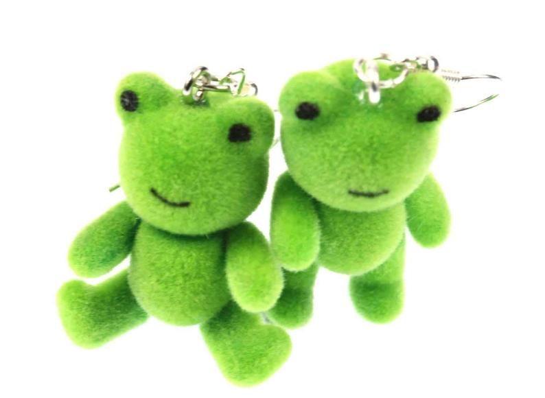 Frog Earrings Frogs Miniblings Toad Princess Teddy Frogs Velvety Flock Green In 2020 Quirky Earrings Cute Jewelry Fun Earrings