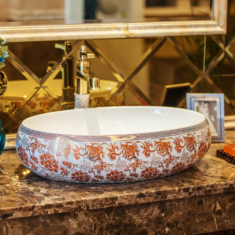 Oval Europe Vintage Style Ceramic Art Basin Sinks Counter Top Wash