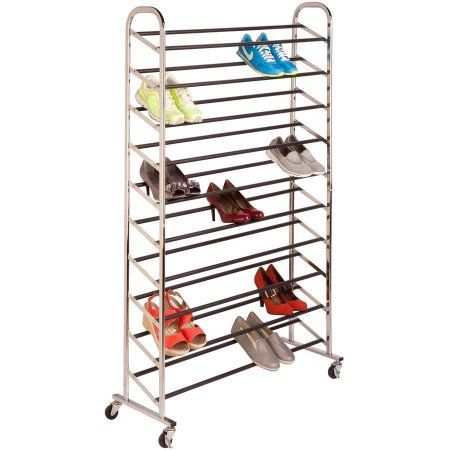 Honey Can Do 50 Pair Steel Rolling Shoe Tower Chrome Shoe