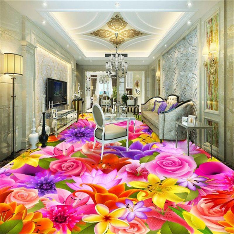 Beibehang Romantic Flower Living Room Bedroom 3d Flooring Tiles