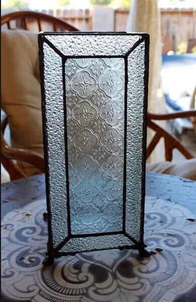 Vintage beveled glass table top candle holder