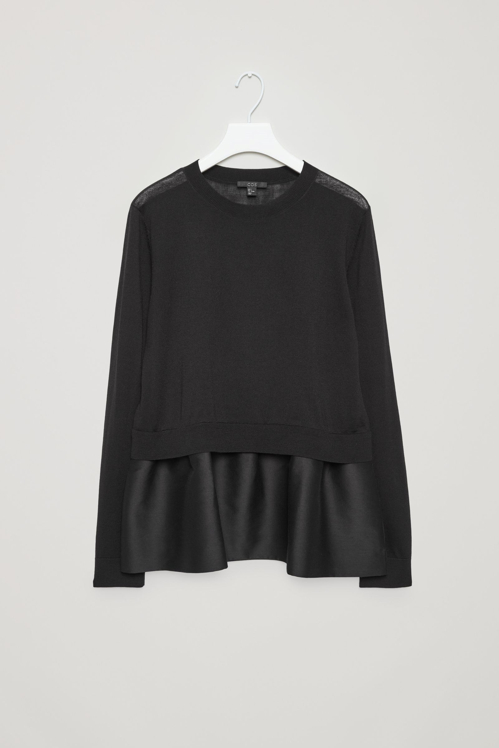bc55219f3 COS image 4 of Knitted top with woven skirt in Black | shirts ...