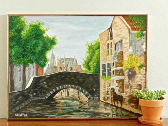 Large Vintage Oil Painting Original Oil on Canvas by CoastalMaison