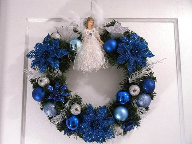 Christmas Wreath,  Angel Wreath, Indoor/Outdoor Wreath, Blue Sapphire Wreath. $40.00, via Etsy.