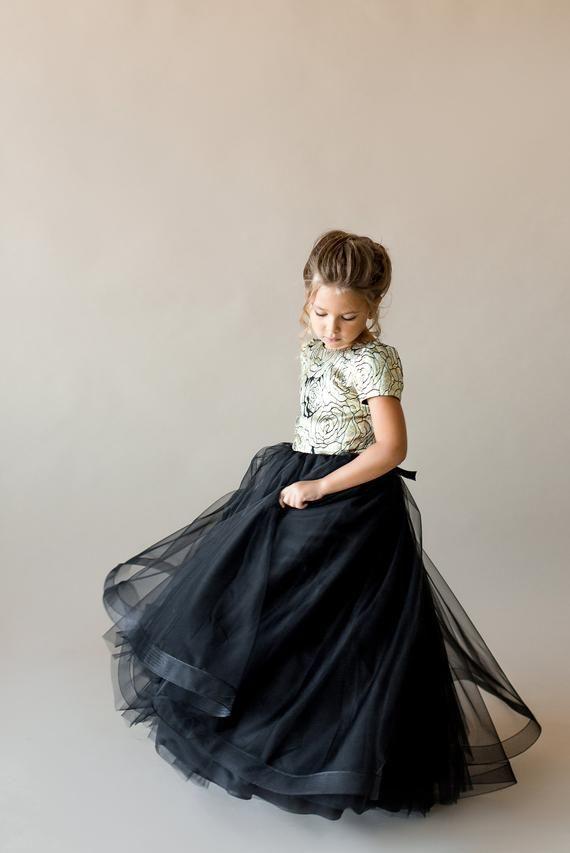 efe7d5fd0e Gold flower girl dress Black junior bridesmaid dress tulle Toddler formal  dress Birthday dress Tutu