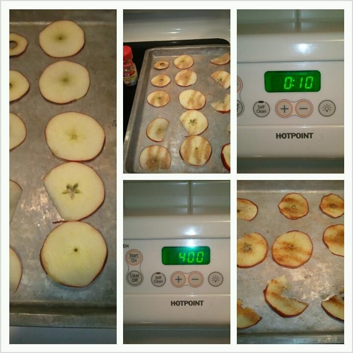 Slice apples and put them on a cookie tray.  Sprinkle cinnamon sugar or brown sugar on apples. set oven to 400 degrees. cook for ten minutes.  Apples are soft and easy for little children to eat.  Healthy and Delicious!