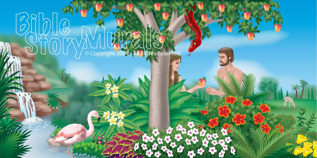 Bible Story Murals - Garden of Eden   Bible class murals   Pinterest ...