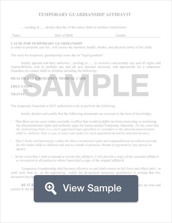 Free Guardianship Form  Legal Documentation