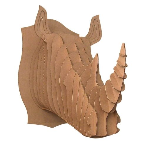 robbie m dium rhinoc ros troph e en carton cardboard safari art design pinterest. Black Bedroom Furniture Sets. Home Design Ideas