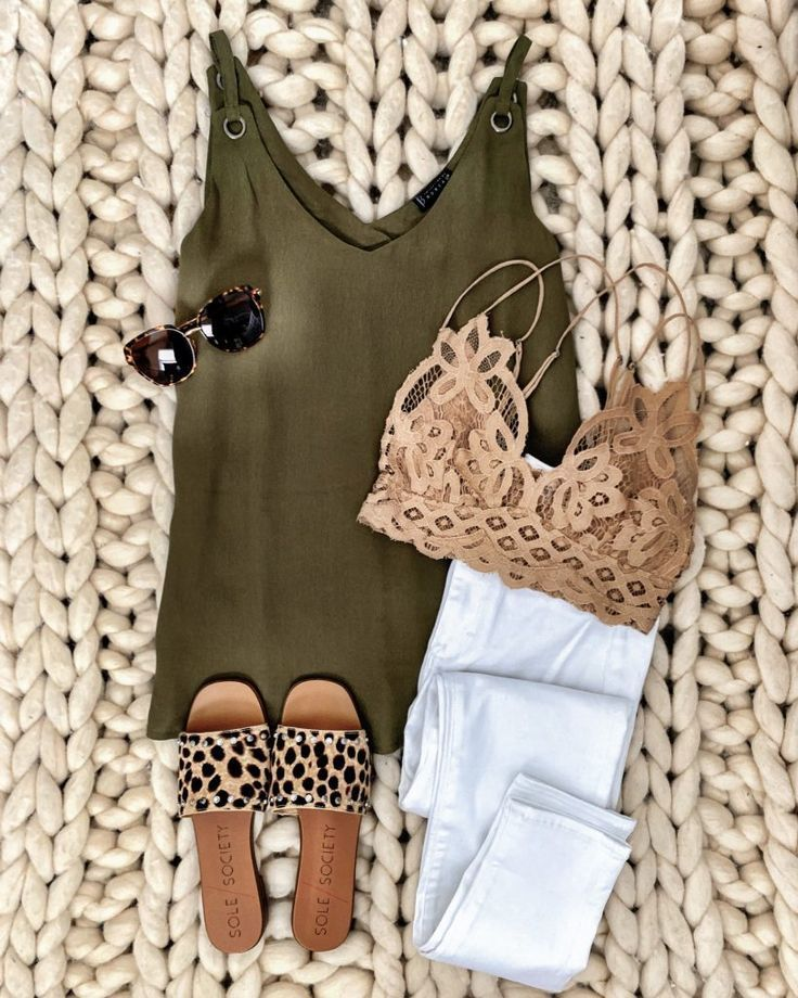 IG: MrsCasual | Olive cami, white jeans, beige lace bralette, leopard slides, &a…