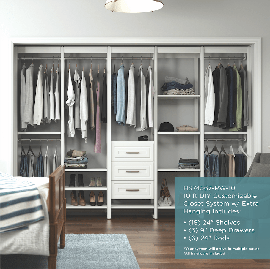 The 10 Foot Extra Hanging Closet Shelving System Closets By Liberty In 2020 Wood Closet Systems Closet Organizing Systems Closet Shelving System
