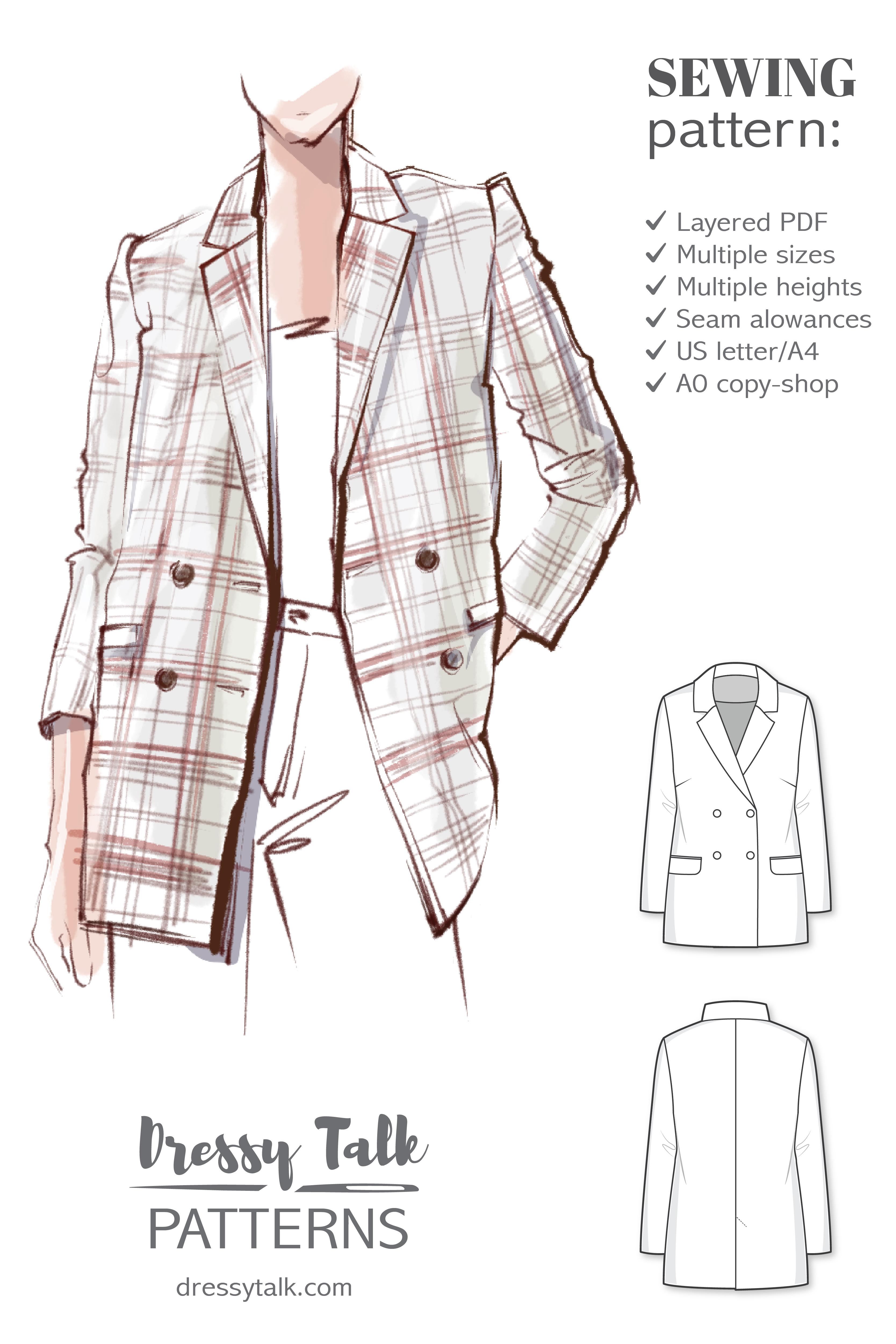 Women Blazer Patterns : women, blazer, patterns, Blazer, Sewing, Patterns, Womens, Pattern, Lined, Double, Breasted, Jacket, Modern, Sewing,, Pattern,
