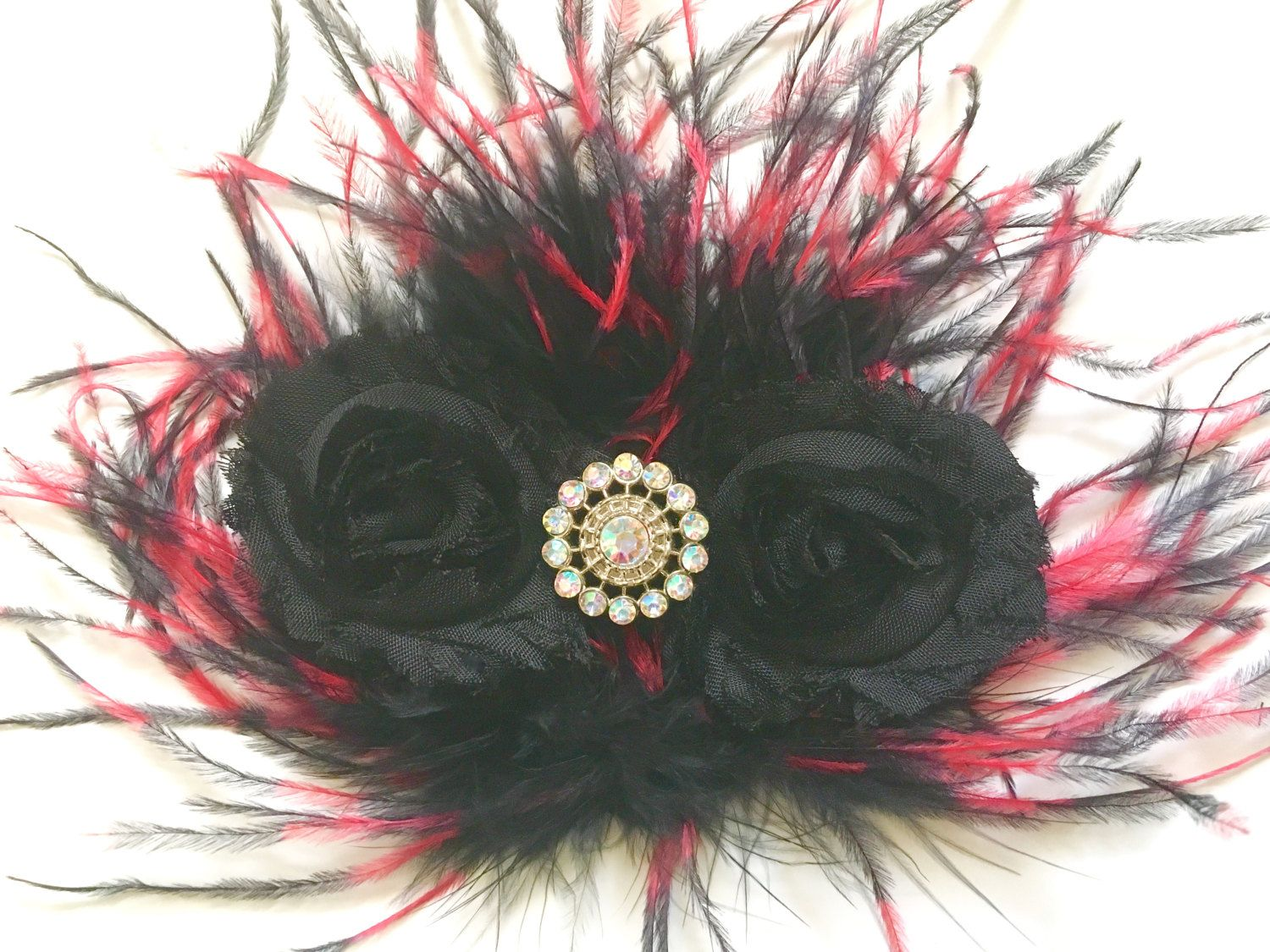 Red Black Hair Clip, Dance Costume Hair piece,