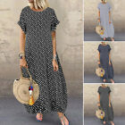 ZANZEA Women Short Sleeve Polka Dot Shirt Dress Long Maxi Dress Sundress Plus #shortsundress