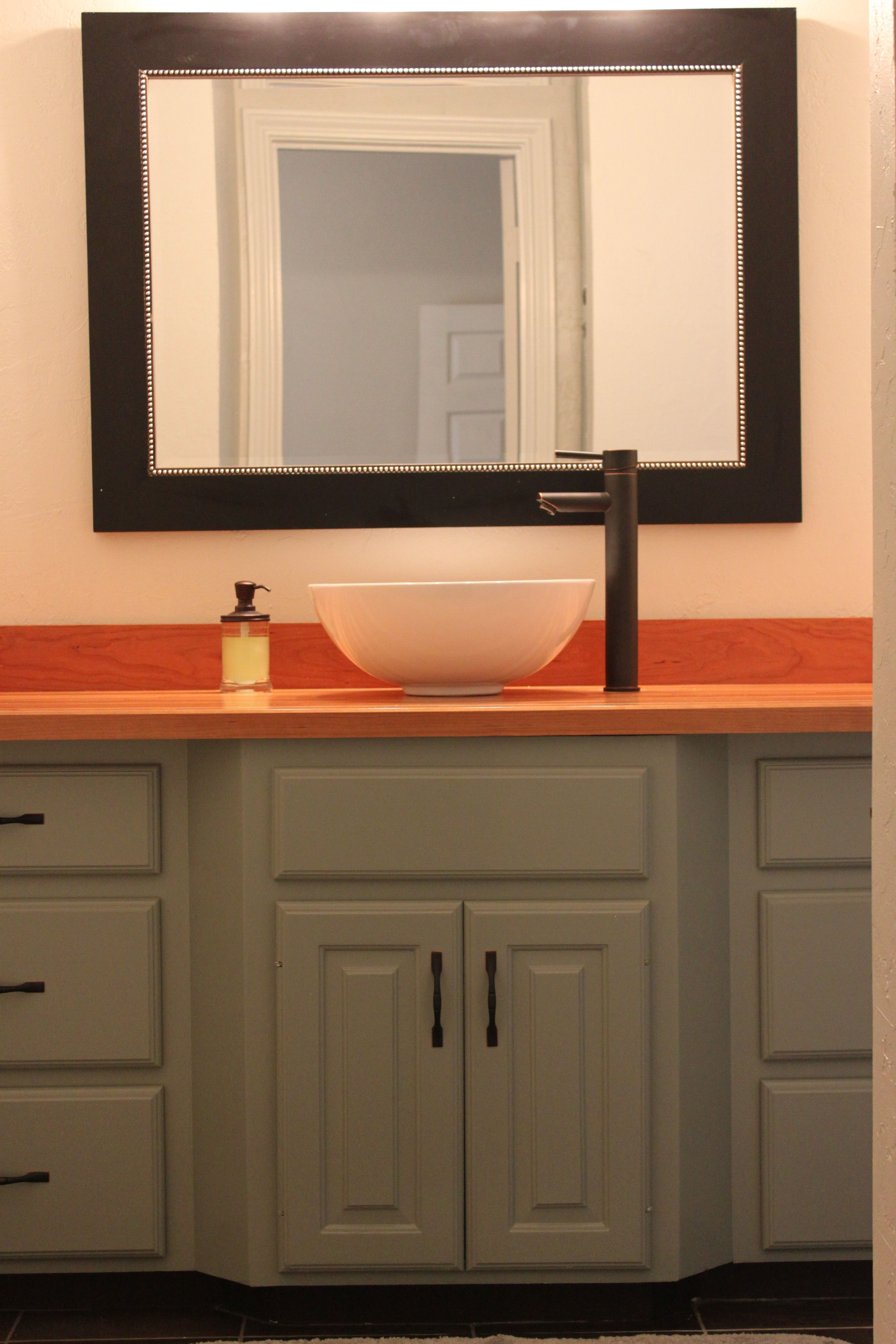 Debraus updated bathroom painted cabinets and new butcher block