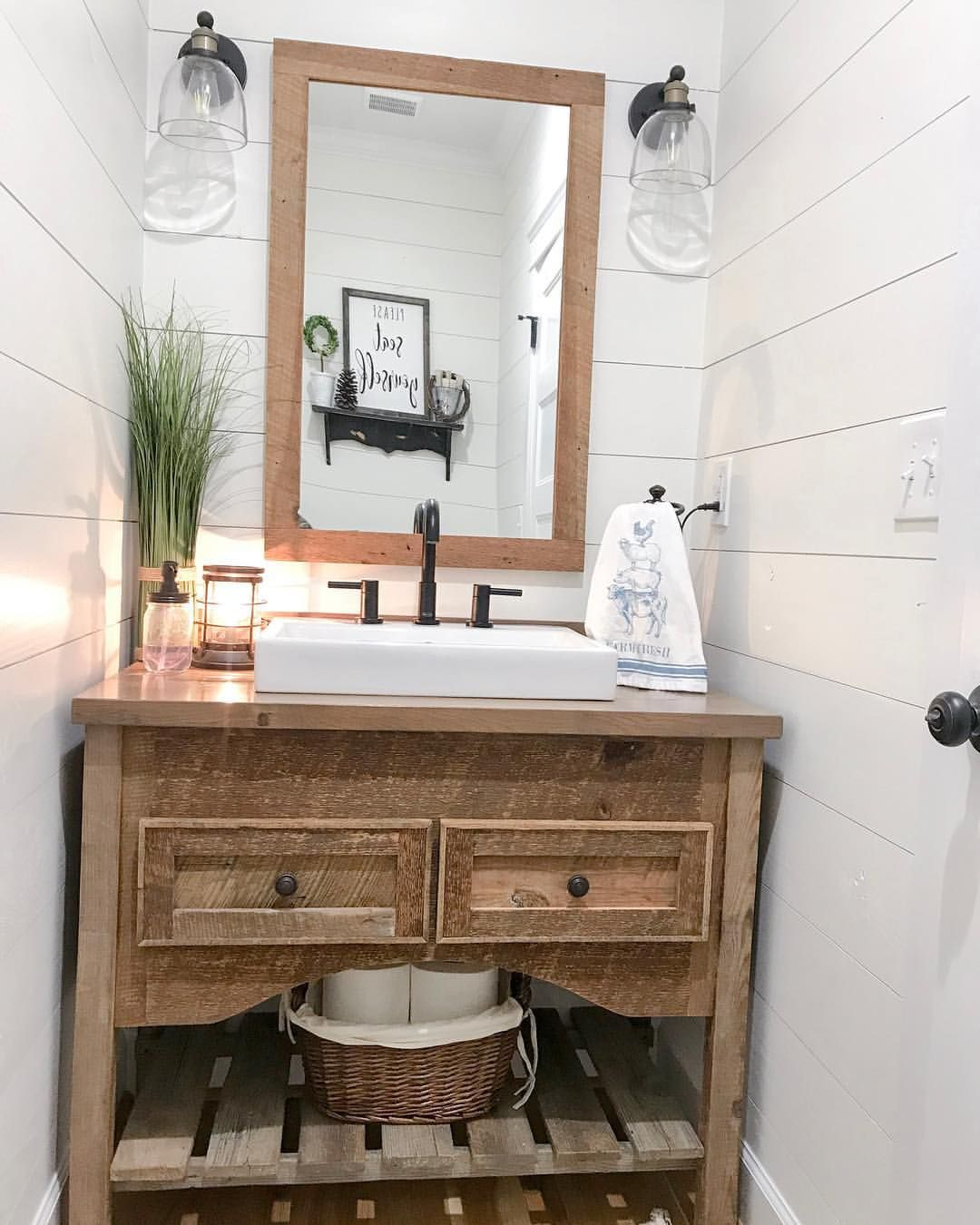 Because My Half Bath Is Narrow I Had This Vanity Custom Built From A Local Cabinet Guy He Used Half Bath Decor Half Bath Remodel Farmhouse Style Bedroom Decor [ 1350 x 1080 Pixel ]