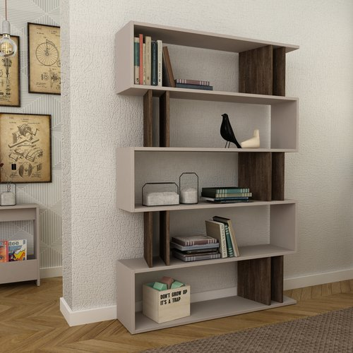 Beltran Bookcase Orren Ellis Colour Light Mocca Dark Brown