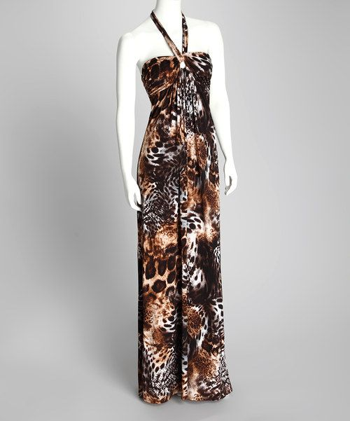 Take a look at this Brown Leopard Timmy Halter Maxi Dress - Women on zulily today!