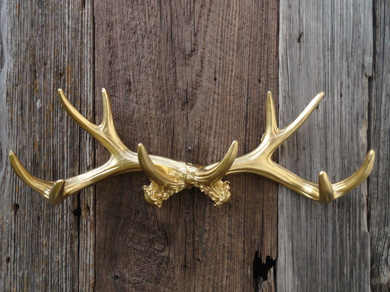Deer Antler Coat Hooks Wall Antlers Gold Large Antler Wall Decor  Deerjunkintime .