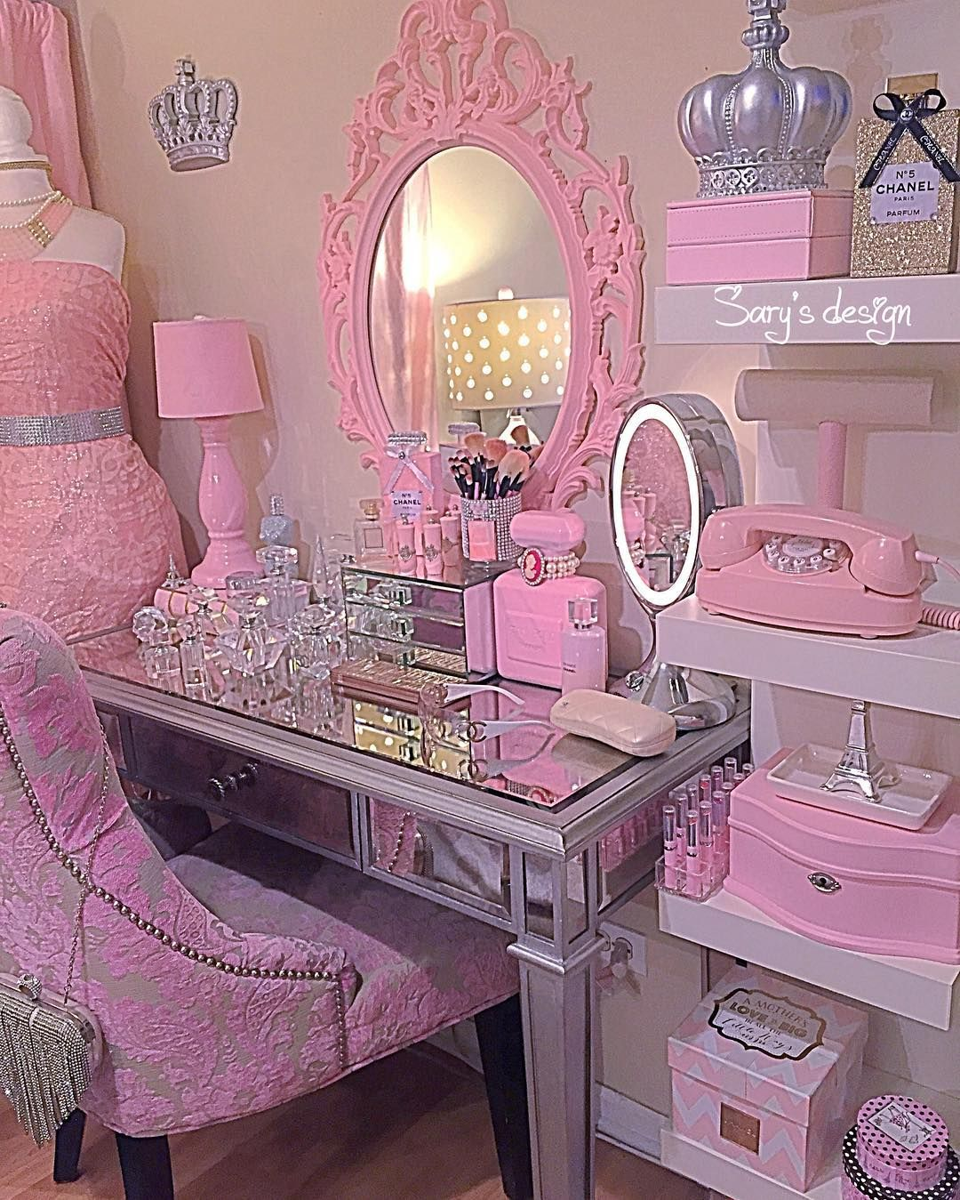 M O N I Q U E Vanity Room Area Closet Salon Pink