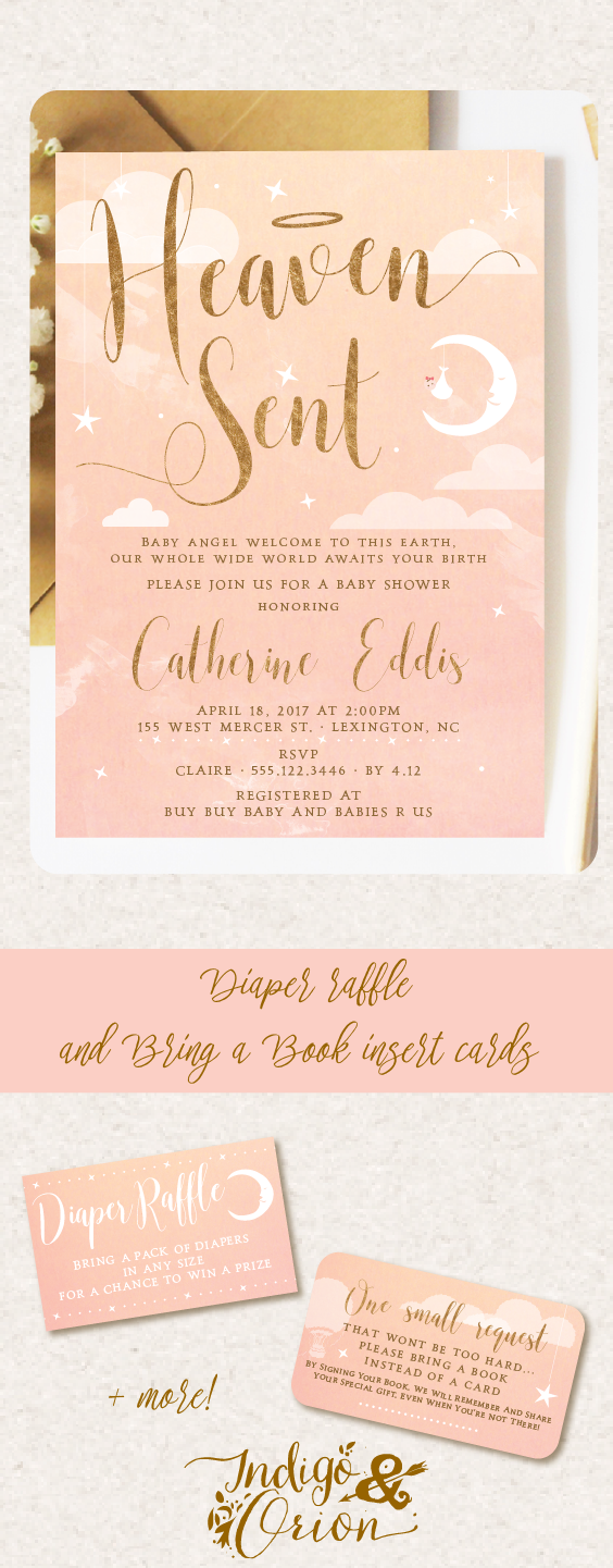 Heaven sent baby shower invitations blue and blush pink and gold heaven sent baby shower invitation and party printables available at etsylisting479128695 thankheavenforittlegirls pinkandgold angelbabyshower filmwisefo
