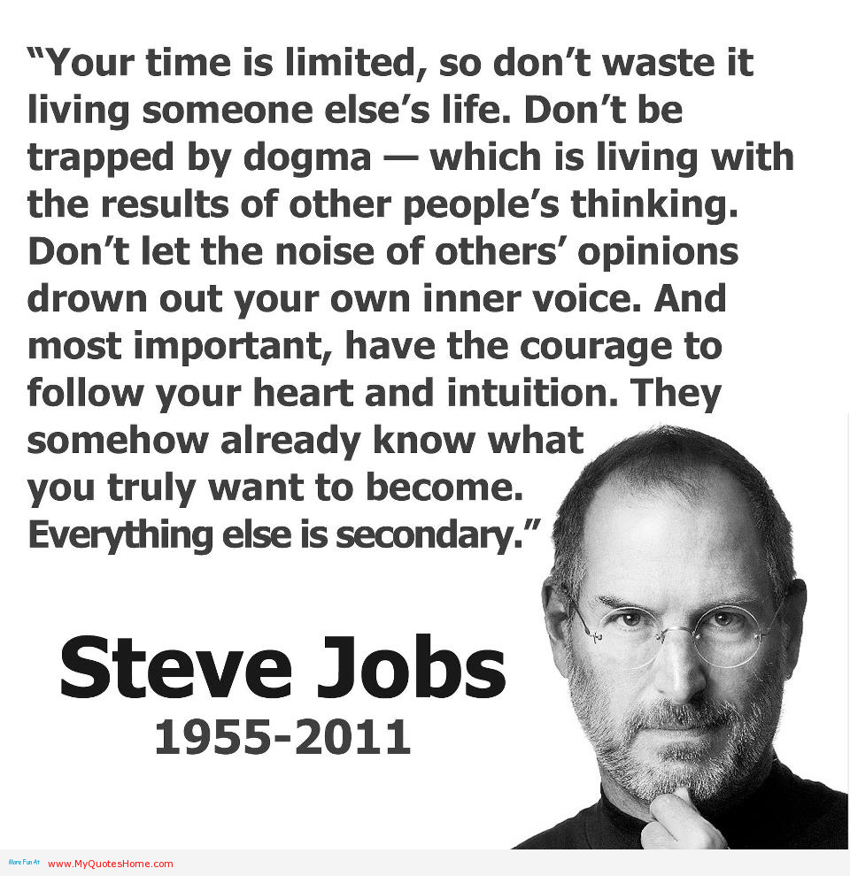 Steve Jobs Quotes On Life Steve Jobs' Quote On Following Our Heart And Intuition In Life