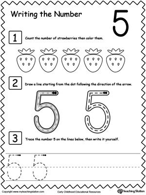 Learn To Count And Write Number 5 Writing Numbers Numbers Preschool Math Activities Preschool