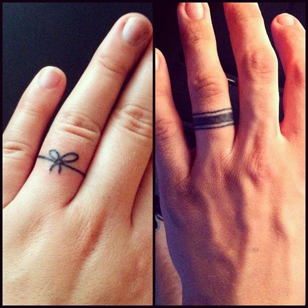 Simple Wedding Ring Tattoos: The Bow For Engagement (promise), Then A Plain, Simple