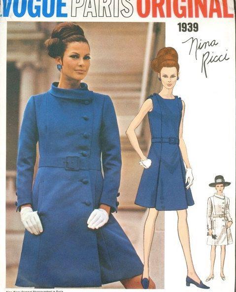 1960s Vintage Nina Ricci Mod Side Button Coat and Dress Vogue Paris ...
