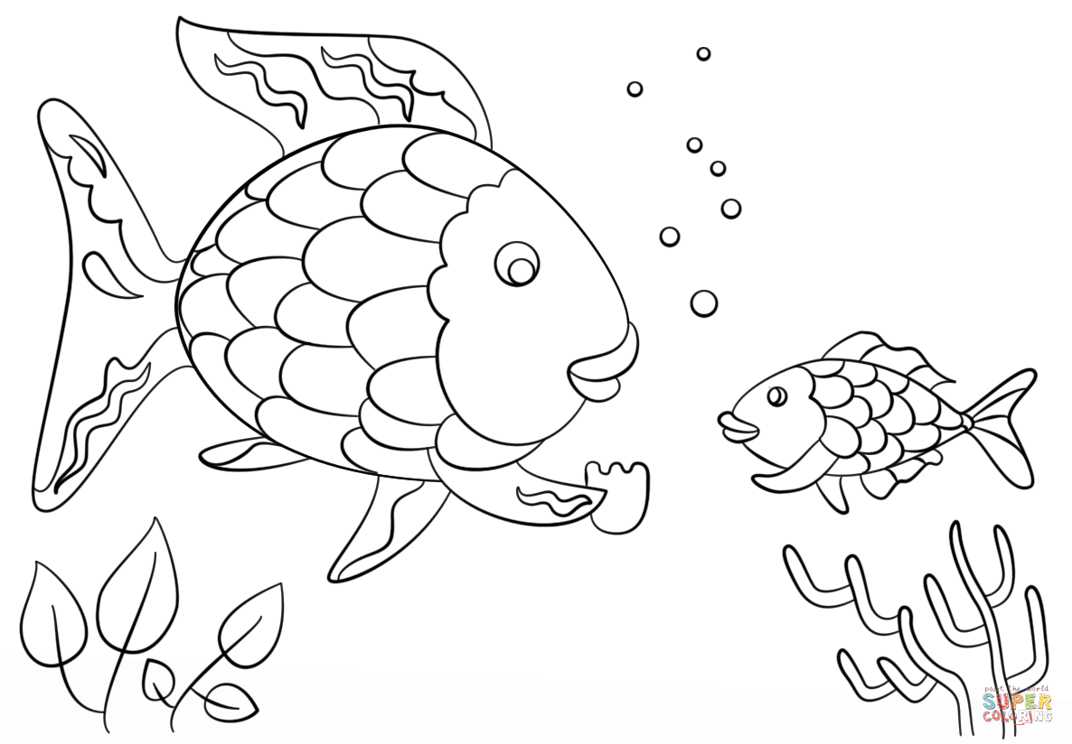 Rainbow Fish Gives A Precious Scale To Small Fish Coloring Page Fish Coloring Page Rainbow Fish Template Rainbow Fish Coloring Page