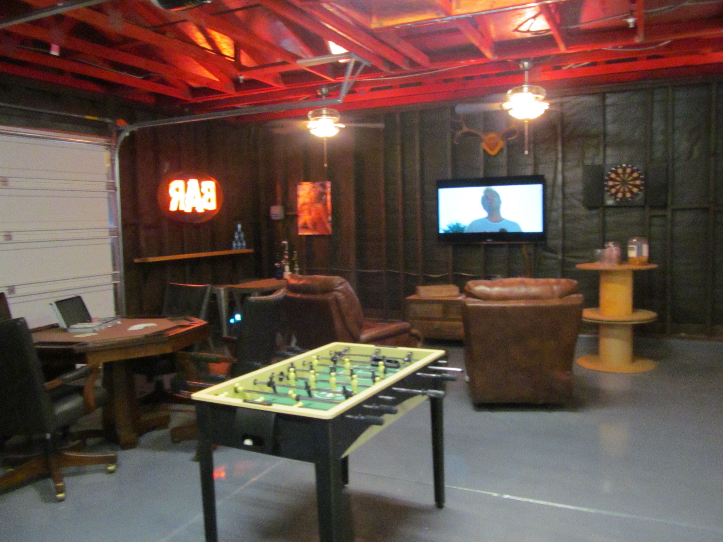 Garage As Man Cave With Game Room And Tv Idea Unique Garage