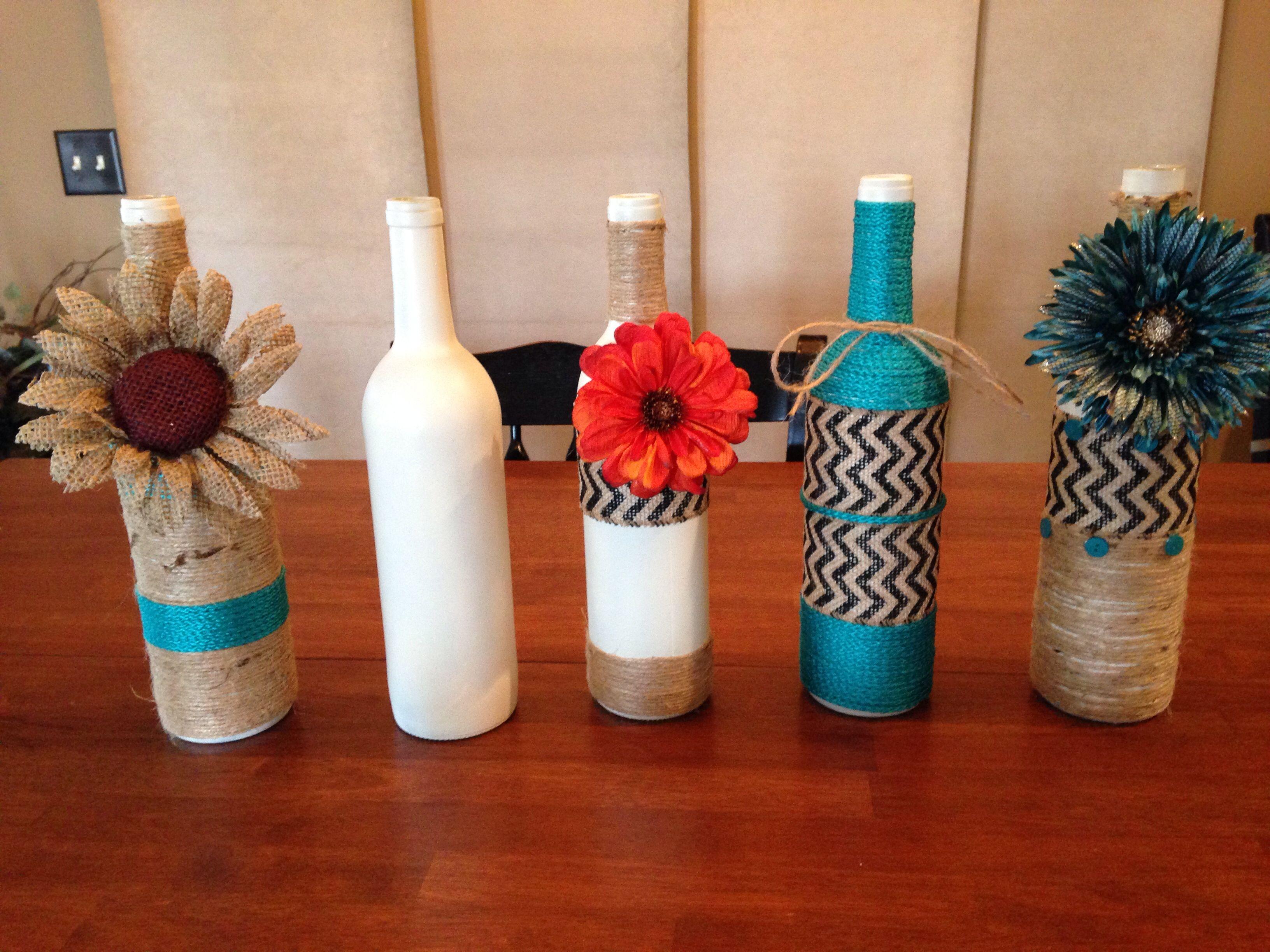 Twine Wine Bottles Painted Before Twining Wine Bottle Crafts Wine Bottle Diy Bottles Decoration