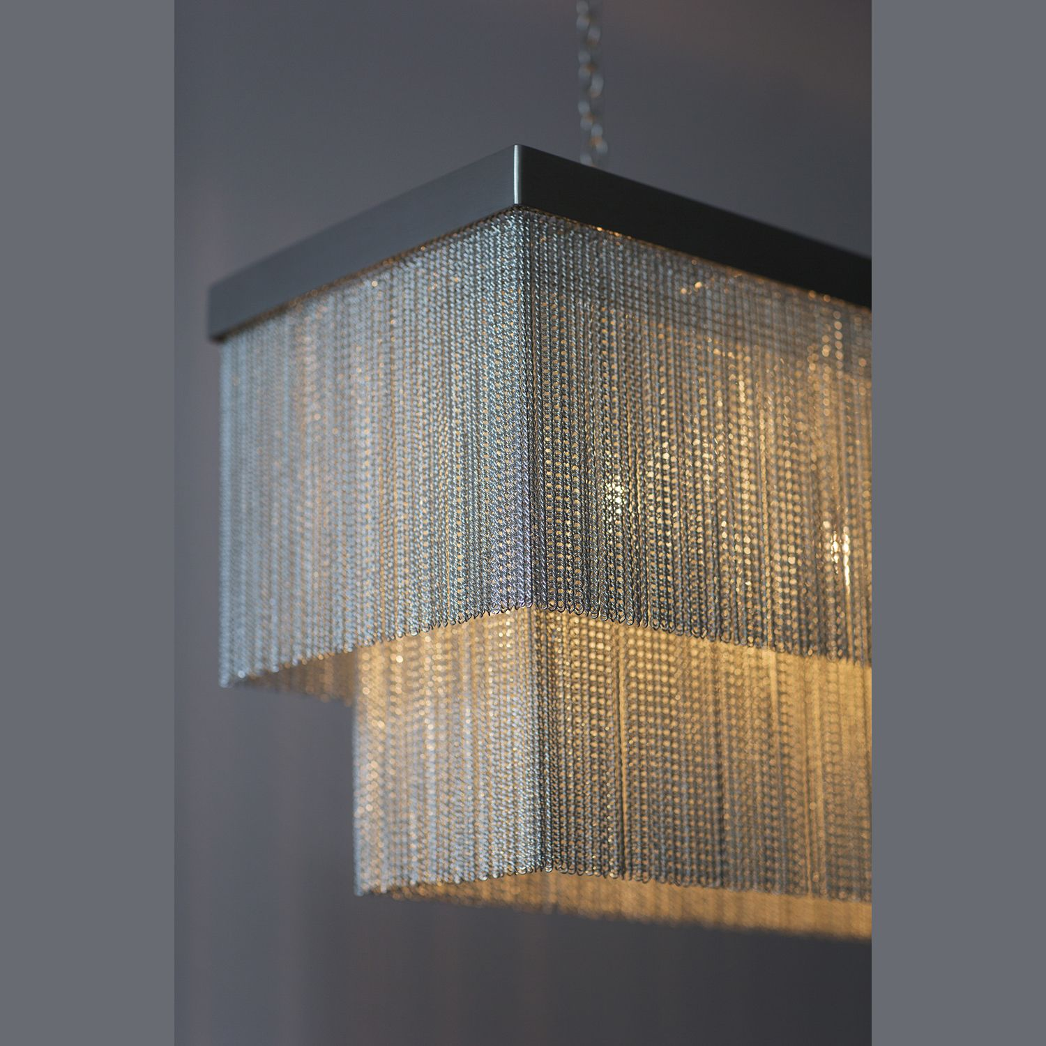 Silver Chain Rectangular Chandelier