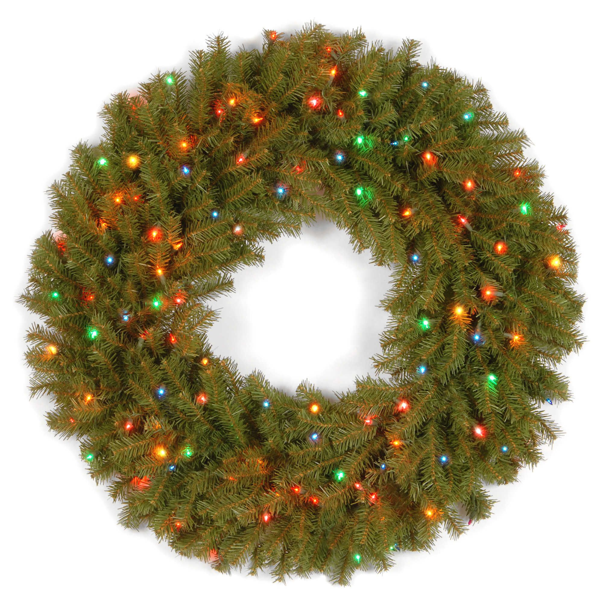 Outdoor Lighted Wreath National Tree Company 30Inch Prelit Norwood Fir Wreath  Christmas