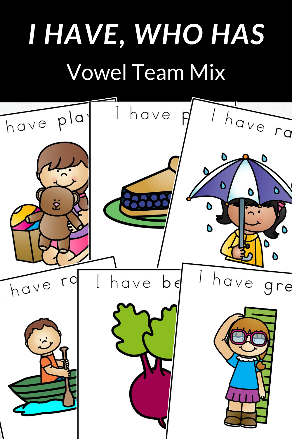 I Have Who Has Vowel Team Mix Game Literacy, First grade