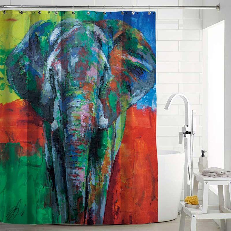 Rideau de douche impression peinture l 39 huile d 39 l phant - Anti moisissure salle de bain ...