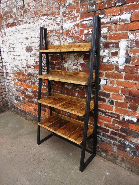 Industrial Chic Reclaimed Custom Steel Wood Bookcase Media