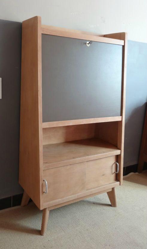 Secretaire annees 50 bois mat et kaki Relooking meubles - Peindre Meuble En Chene Vernis
