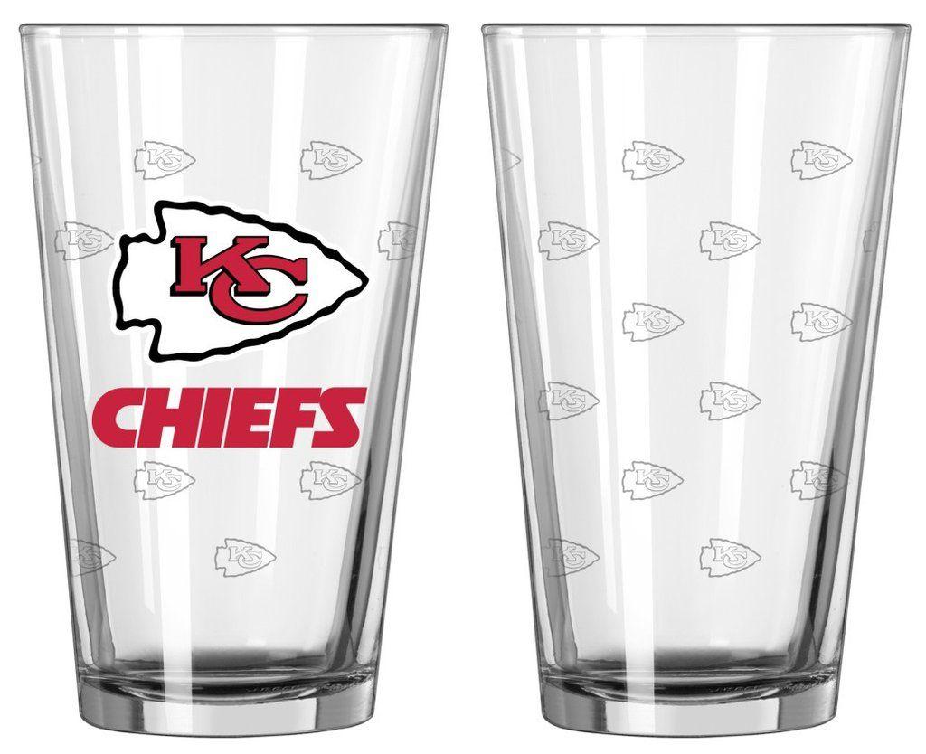 cd1567b1 Kansas City Chiefs Satin Etch Pint Glass Set   Kansas City Chiefs ...