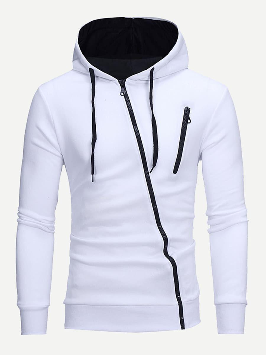 Men Zip Up Hooded Sweatshirt Shein Sheinside Mens Sweatshirts Hoodie Hoodies Men Mens Outfits [ 1199 x 900 Pixel ]