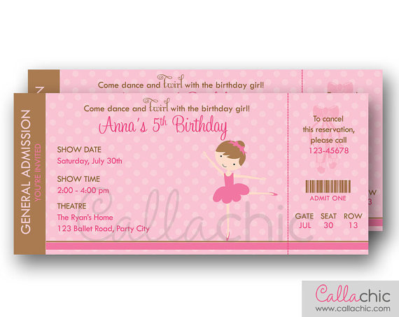 Ballet Ticket Invitation PRINTABLE - Ballerina Birthday Invite for - printable ticket invitations