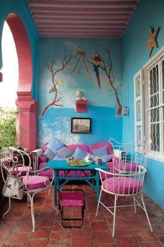 Ideen Farbig Rosa Blau Romantische Atmosphäre Tipps   Balkon ... Ideen Fur Balkon Deko Boho Chic Personlichkeit