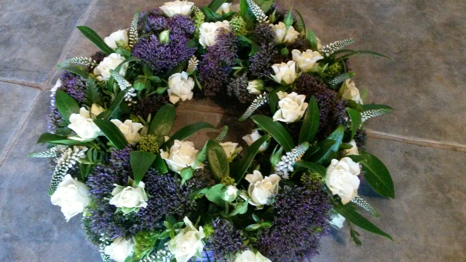 Sympathy Funeral Tribute In Purple And White Funeral Flowers