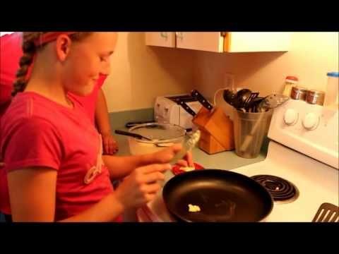 Two cousins make their Grandpa Erickson's Swedish Pancakes