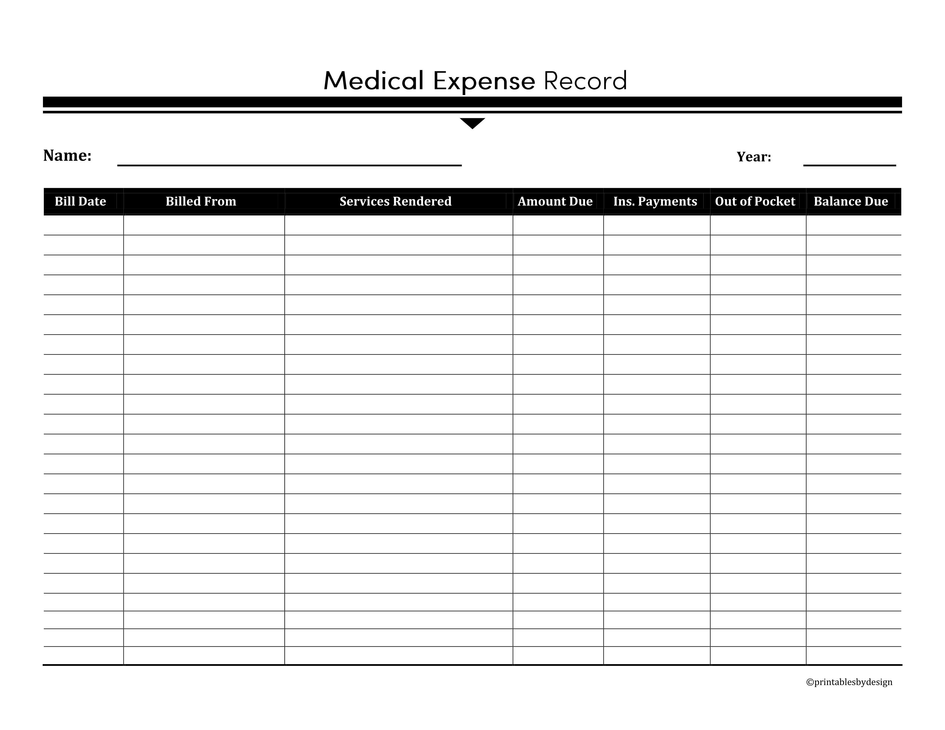 Medical Expense Record Keep Track Of All Your Medical
