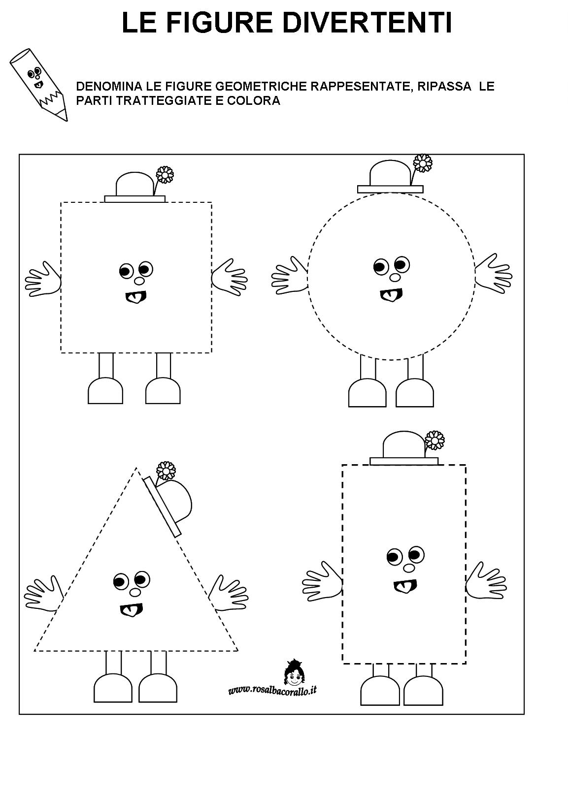 Schede didattiche figure geometriche per bambini di 4 5 - Numero di fogli di lavoro per bambini ...
