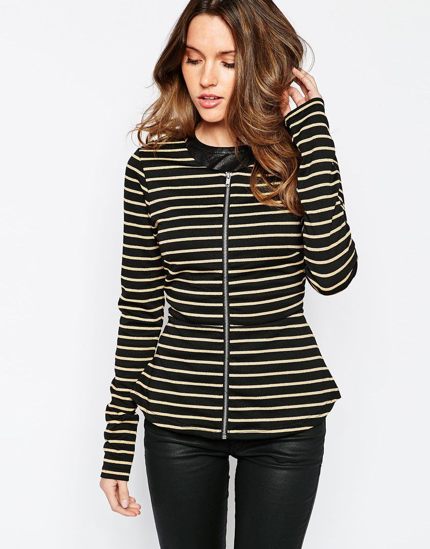 db9a836335 Image 1 of Vila Striped Peplum Blazer