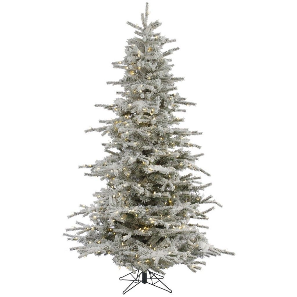 Flocked Sierra 12 White Fir Artificial Christmas Tree With 1850 Led White Lights Wit Slim Artificial Christmas Trees Pre Lit Christmas Tree Led Christmas Tree