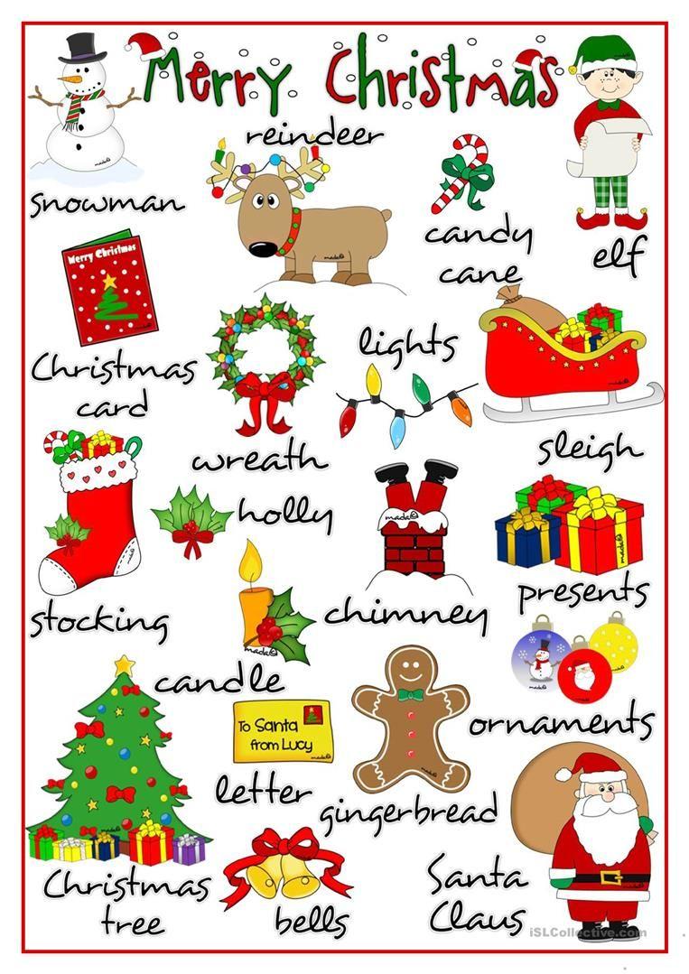 Merry Christmas pictionary Αγγλική γραμματική