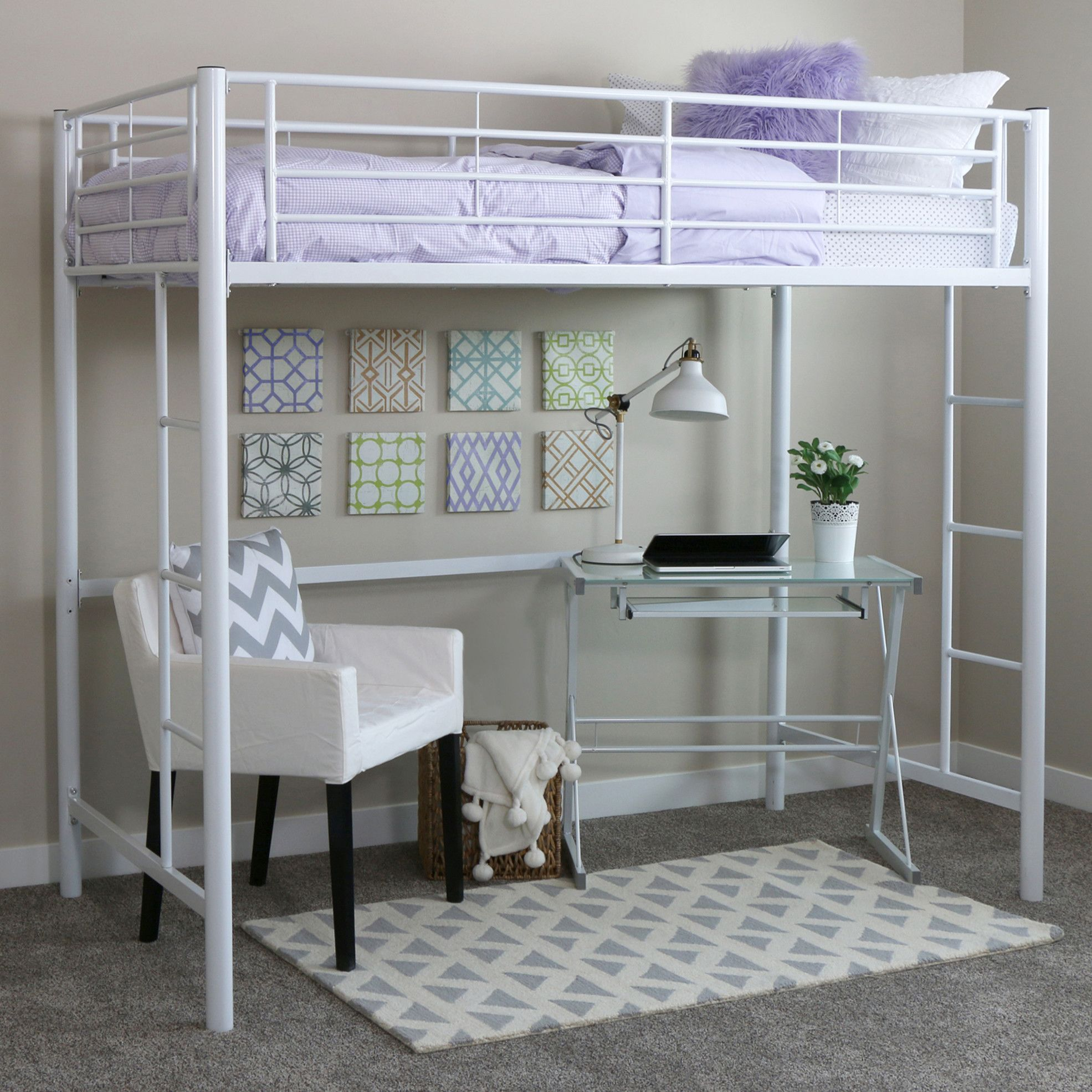 Loft bed ideas  Home Loft Concept Twin Loft Bed with BuiltIn Ladder u Reviews